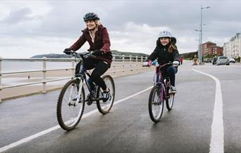 Cyclists on National Cycle Route 5 at Colwyn Bay