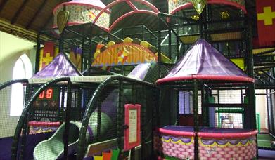 Large slide and castle soft play area