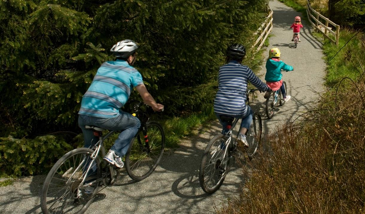 Family cycling along bike trail