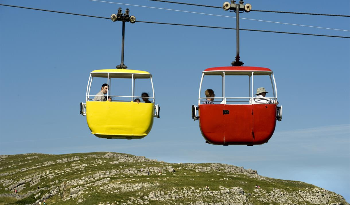 Image of 2 cable cars crossing each other